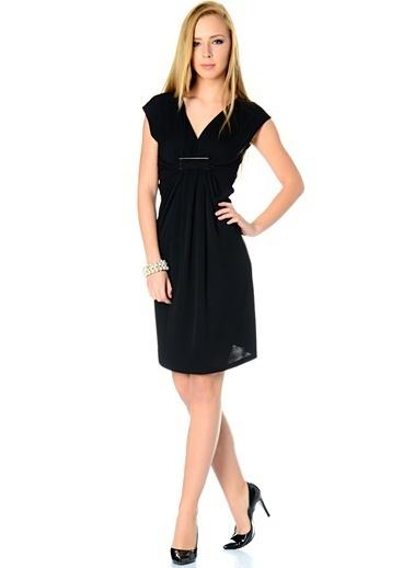 Asymmetry V Yaka Elbise Siyah